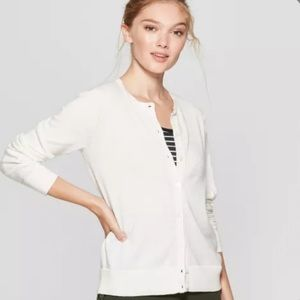 A New Day CrewNeck Button Down White Cardigan